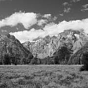 Grand Tetons In Black And White Poster