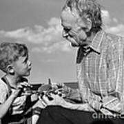 Grandfather And Boy With Model Plane Poster