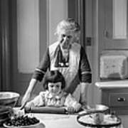 Grandmother And Granddaughter Baking Poster