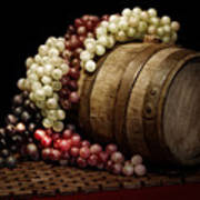 Grapes And Wine Barrel Poster