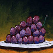Grapes On A White Plate Poster