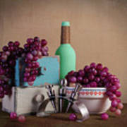 Grapes With Wine Stoppers Poster