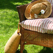 Grass Lawn With A Wicker Chair  Poster