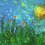 Grassland With Orange Flowers Poster