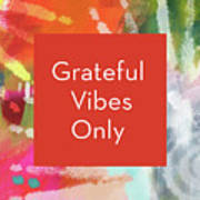 Grateful Vibes Only Journal- Art By Linda Woods Poster