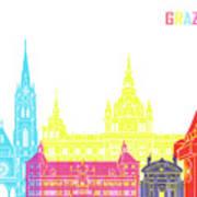 Graz Skyline Pop Poster