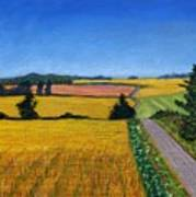 Great Bedwyn Wheat Fields Painting Poster