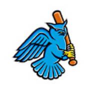 Great Horned Owl Baseball Mascot Poster