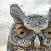 Great Horned Owl Pencil Poster