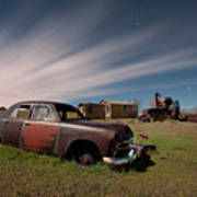 Abandoned Ford Car At Abandoned Farm Poster