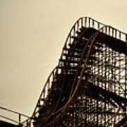 Great White Roller Coaster - Adventure Pier Wildwood Nj In Sepia Triptych 1 Poster