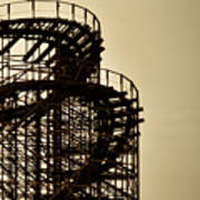 Great White Roller Coaster - Adventure Pier Wildwood Nj In Sepia Triptych 3 Poster