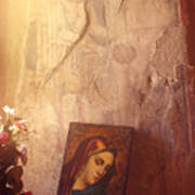 Greece. Lesvos. 16th Century Fresco And Virgin Mary Icon Poster