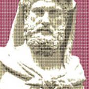Greek Statue #3 - Dark Red Poster