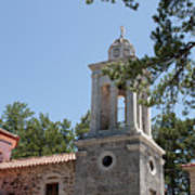 Greek Village Church In The Forest Poster