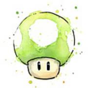 Green 1up Mushroom Poster