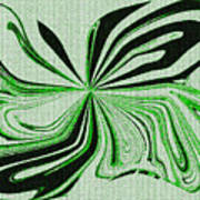 Green And Black Embroidered Butterfly Abstract Poster