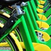 Green And Yellow Bicycles Poster