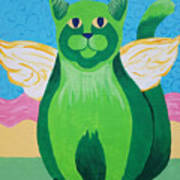 Green Angel Cat Poster