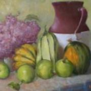 Green Apples And Hydrangeas   Copyrighted Poster