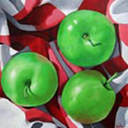 Green Apples still life painting Poster