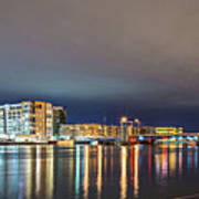 Green Bay Wisconsin City Skyline At Night Poster