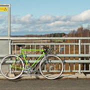 Green Bicycle On Bridge Poster