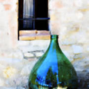 Green Bottle Italian Window Poster