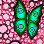 Green Butterfly Poster by Brenda Higginson