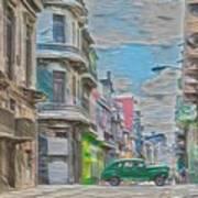 Green Car In Cuba Poster