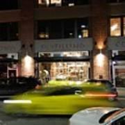 Green Car Zooming Through Yaletown Poster