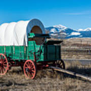Green Covered Wagon Poster