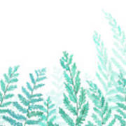 Green Fern Watercolor  Poster