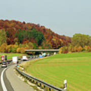 Green Field And Autumn Color Road Poster