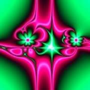 Green Flowers On Pink Ribbons Fractal 64 Poster