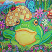 Green Frog With Flowers And Mushrooms Poster