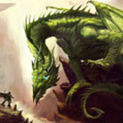 Green God Dragon Poster