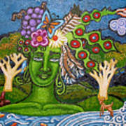 Green Goddesswith Waterfall2 Poster