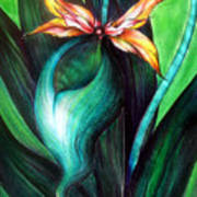 Green Golden Exotic Orchid Flower Poster
