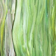 Green Gray Organic Abstract Art For Interior Decor Vi Poster