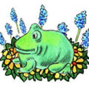 Green Happy Frog Poster