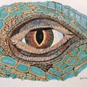 Green Iguana Eye Poster