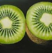 Green Kiwi Oil Painting  Poster
