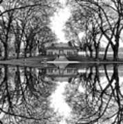 Green Lake Bathhouse Black And White Reflection Poster