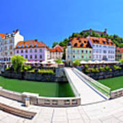 Green Ljubljana Riverfront Panoramic View Poster