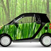Green Mini Car Poster