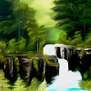 Green Mist Fantasy Falls Dreamy Mirage Poster