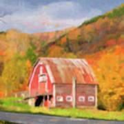 Green Mountains Barn Poster