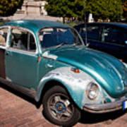 Green Old Vintage Volkswagen Car Poster