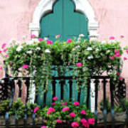 Green Ornate Door With Geraniums Poster